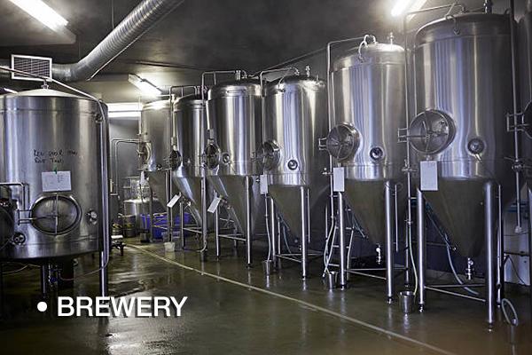 Steel tanks at beer microbrewery